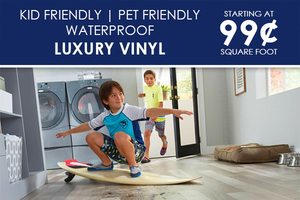 Luxury Vinyl on sale starting at only 99¢ Sq.ft. - Kid friendly, pet friendly, waterproof flooring. Save big only at The Carpet Barn in North Little Rock and Pine bluff, Arkansas